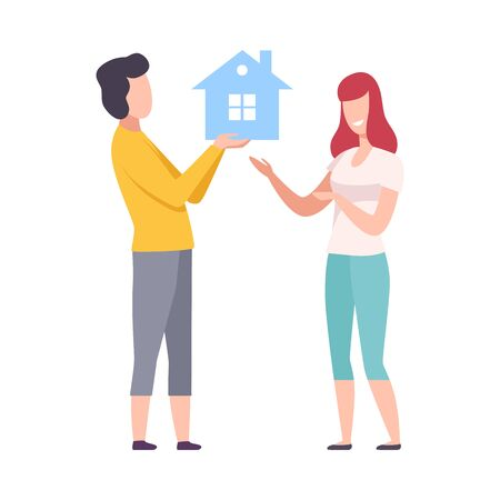 Young Man and Woman Choosing Real Estate for Buying or Renting, Couple Holding Small House Vector Illustration Illustration