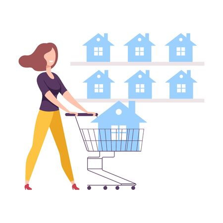 Young Woman with Shopping Cart Choosing House for Buying or Renting Vector Illustration