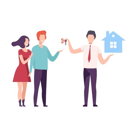 Broker or Real Estate Agent Giving Keys from New House to Family Couple, People Buying or Renting Home Vector Illustration