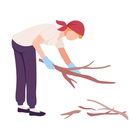 Woman Collecting Wooden Branches, Female Volunteer Picking Garbage Outdoors, Girl Cleaning the Beach from Pollution Vector Illustration, Flat Style. Ilustração