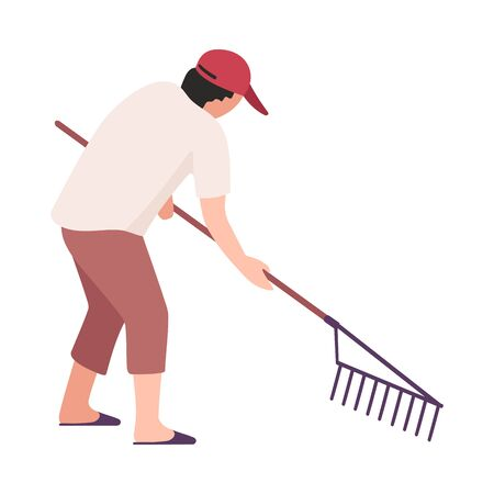 Man Collecting Trash with Rakes, Male Volunteer Picking Garbage Outdoors, Guy Cleaning the Beach from Pollution Vector Illustration