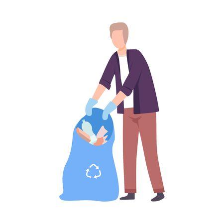 Young Man Collecting Trash into Plastic Bag, Male Volunteer Picking Garbage Outdoors Vector Illustration Ilustração
