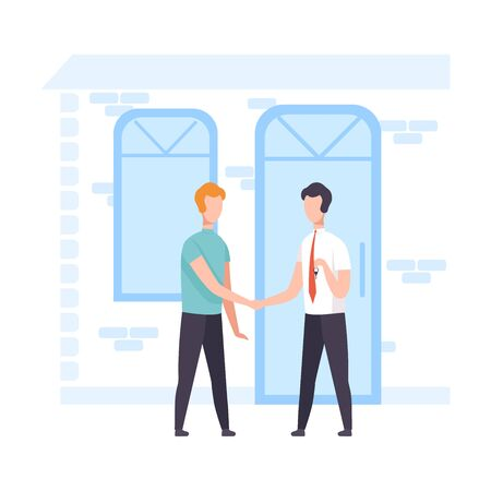 Male Broker Agent and Client Shaking Hands, Real Estate Deal Vector Illustration, Flat Style.