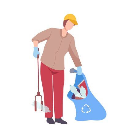 Man Collecting Trash into Bag with Eco Friendly Tool, Male Volunteer Picking Garbage Outdoors Vector Illustration, Flat Style.