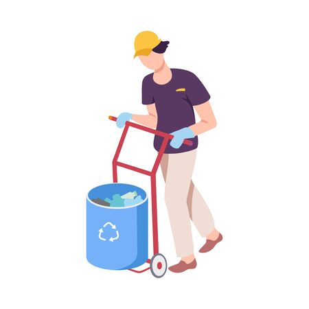 Young Man Pushing Rubbish Cart, Male Volunteer Picking Garbage Outdoors, Guy Cleaning the Beach from Pollution Vector Illustration, Flat Style.