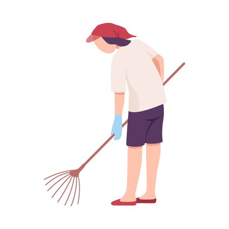 Young Man Collecting Trash on the Beach with Rakes, Male Volunteer Picking Garbage Outdoors Vector Illustration, Flat Style.