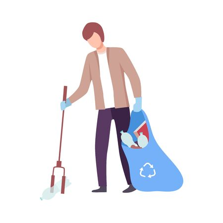 Young Man Collecting Trash into Plastic Bag with Eco Friendly Tool, Male Volunteer Picking Garbage Outdoors Vector Illustration, Flat Style.