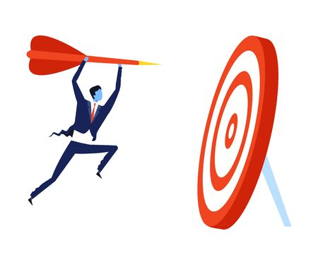 Successful Businessman Running to Target with Arrow, Leadership, Challenge, Competition Concept Vector Illustration