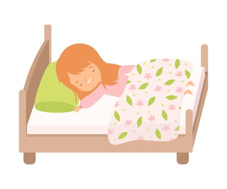 Adorable Smiling Red Haired Little Girl Sleeping Sweetly in Her Bed under Blanket Vector Illustration
