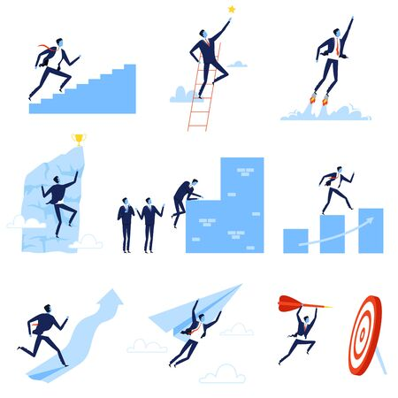 Successful Businessmen Overcoming Obstacles Towards Goals Set, Leadership, Competition, Challenge, Vector Illustration