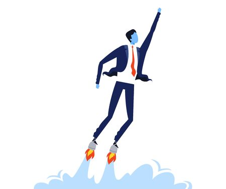 Businessman Flying with Jet Engine under Shoes, Startup, Business Success, Leadership Concept Vector Illustration 向量圖像