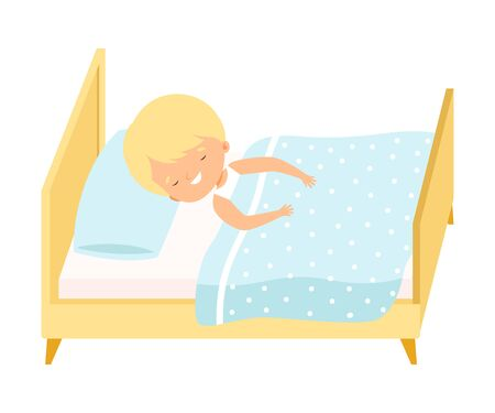 Cute Smiling Blond Little Boy Sleeping Sweetly in His Bed under Blanket Vector Illustration, Cartoon Style.