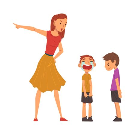 Angry Mother Scolding Her Naughty Sons, Relationships Between Kids and Parent, One Boy Crying Bitterly Vector Illustration
