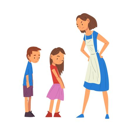 Angry Mother Scolding Her Naughty Son and Daughter, Relationships Between Kids and Parents Vector Illustration