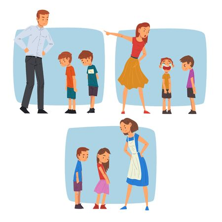 Parents Scolding Naughty Boys Set, Mothers and Fathers Chastening Children for Bad Behavior Vector Illustration, Cartoon Style.