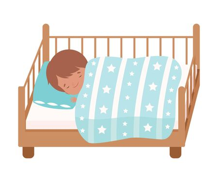 Adorable Little Boy Sleeping Sweetly in His Bed under Blanket Vector Illustration