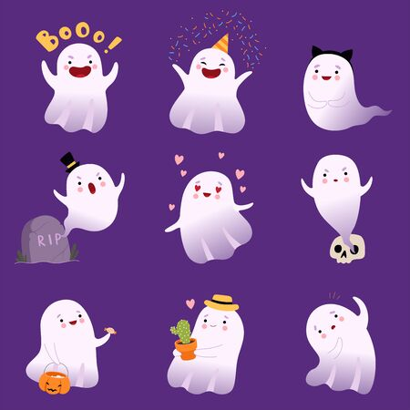 Cute White Flying Ghosts Collection, Adorable Halloween Spooky Characters Vector Illustration