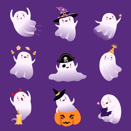 Cute Flying Ghosts Collection, Adorable Halloween Spooky Characters Vector Illustration