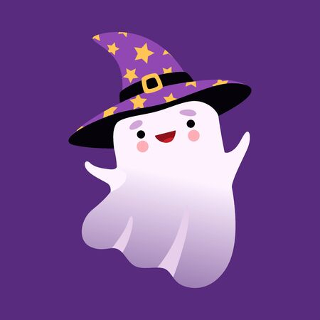 White Little Ghost Wearing Witch Hat, Cute Halloween Spooky Character Vector Illustration