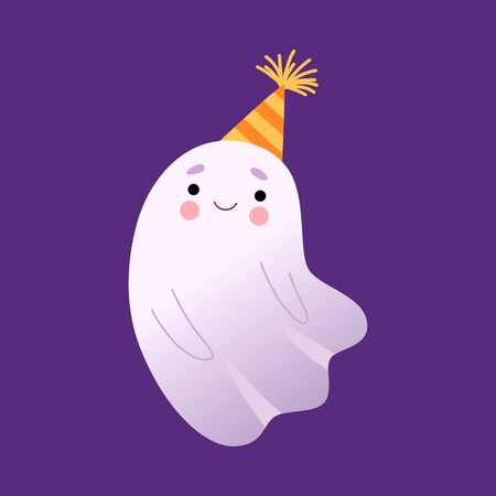 White Little Ghost in Party Hat, Cute Halloween Spooky Character Vector Illustration, Cartoon Style. Ilustração