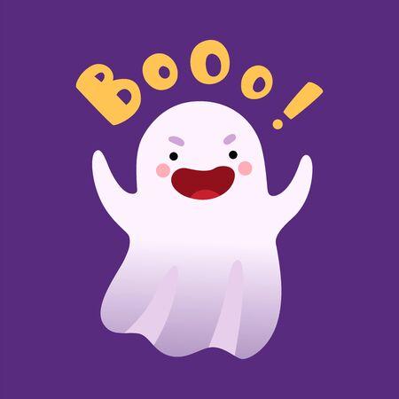 White Ghost Saying Boo, Cute Halloween Spooky Character Vector Illustration, Cartoon Style. Ilustração