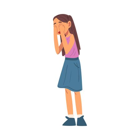 Unhappy Crying Girl, Sad Child Wearing Skirt and Blouse Vector Illustration