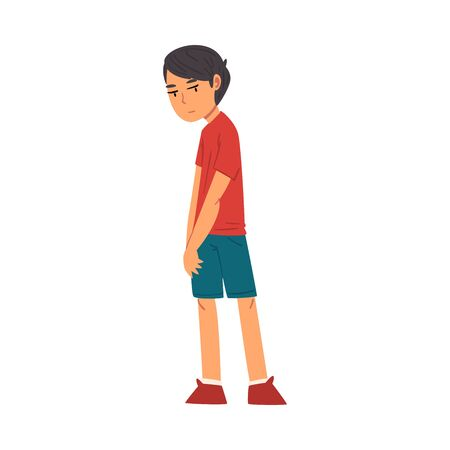 Unhappy Boy, Sad Child in Blue Shorts and Red Tshirt Vector Illustration Illustration
