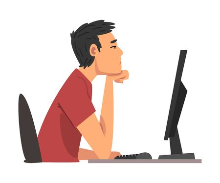 Bored Man Working with Computer, Lazy Guy Procrastinating at Workplace, Unmotivated or Unproductive Worker Character Vector Illustration
