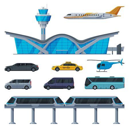 Modern Aerodrome or Transport Hub, Aviation Transport Terminal, Airport Vehicles, Flight Service Transportation Collection Flat Vector Illustration Isolated in White Background. Ilustração Vetorial