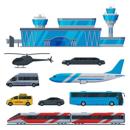 Aviation Transport Terminal, Airport Vehicles Set, Flight Service Transportation Flat Vector Illustration Isolated in White Background.