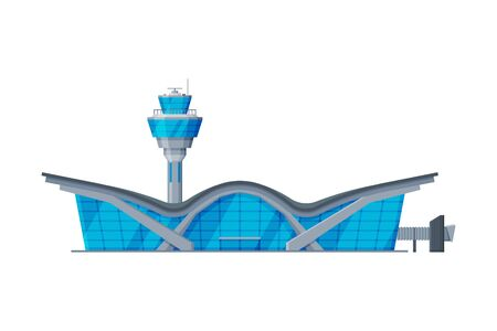 Airport Terminal with Control Tower, Air Public Transport Building, Modern Aerodrome or Transport Hub Flat Vector Illustration Isolated in White Background.