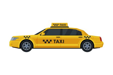 Yellow Taxi Car, Side View, Public Transportation Vehicle Flat Vector Illustration Isolated in White Background.
