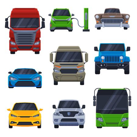 Front View of Various Vehicles Collection, Car, Truck, Bus, SUV, Minibus Flat Vector Illustration 向量圖像