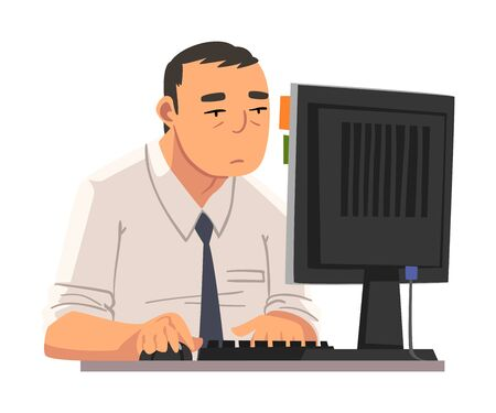 Businessman Being Bored with His Job, Lazy Office Worker Procrastinating at Workplace, Unmotivated or Unproductive Manager Character Vector Illustration