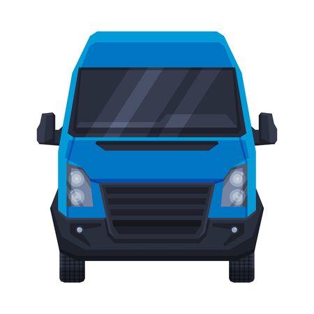 Front View of Blue Minibus for Passenger or Cargo Transportation, Minivan Auto Vehicle Flat Vector Illustration Ilustración de vector