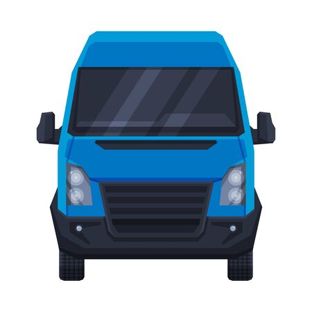 Front View of Blue Minibus for Passenger or Cargo Transportation, Minivan Auto Vehicle Flat Vector Illustration