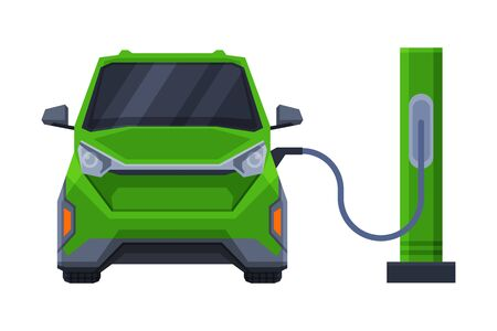 Front View of Green Car at Fuel Station, Modern Urban City Vehicle Flat Vector Illustration