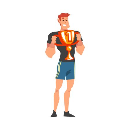 Muscular Sportsman Posing with Winner Cup, Happy Male Athlete in Uniform Celebrating His Victory Vector Illustration, Cartoon Style.