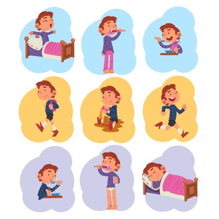 Preschool Kid Daily Routine Activities Collection, Cute Boy Waking Up, Brushing his Teeth, Eating, Playing, Sleeping at Night Cartoon Vector Illustration on White Background.