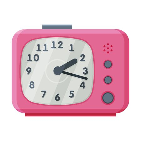 Pink Alarm Clock, Modern Time Measuring Instrument Vector Illustration Stock Illustratie