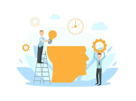 Tiny Business People Working Together Putting Ideas in Human Head, Creative Ideas, Collaborating, Solving Problems, Brainstorming Vector Illustration