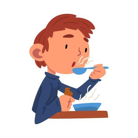 Cute Boy Having Lunch, Preschool Kid Daily Routine Activity Cartoon Vector Illustration