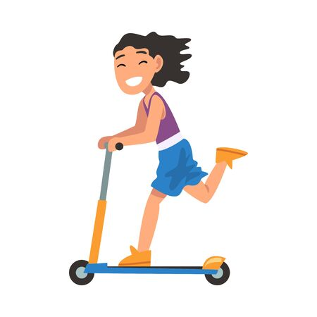 Smiling Girl Riding Kick Scooter, Eco Transport for Children, Summer Outdoor Activity Cartoon Vector Illustration