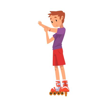 Rollerskating Boy, Cute Child Roller Skating Kid Outdoor Activity Cartoon Vector Illustration on White Background
