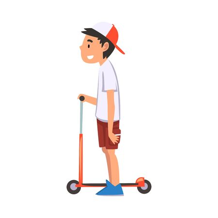 Boy Standing with Scooter, Eco Transport for Children, Summer Outdoor Activity Cartoon Vector Illustration Illustration