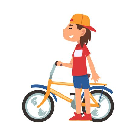 Boy in Baseball Cap Standing with Bike, Teenager Bicyclist, Side View, Summer Outdoor Activity Cartoon Vector Illustration