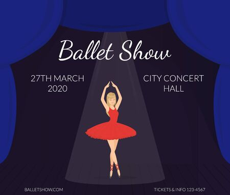 Ballet Show Banner Template, Ballerina Dancer in Red Dress Performing on Stage, Poster, Invitation Card Vector Illustration