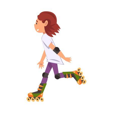 Rollerblading Teen Girl, Cute Child Roller Skating, Teenager Outdoor Activity Cartoon Vector Illustration Illustration