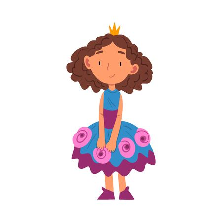 Girl Dressed as Princess, Cute Kid Playing Dress Up Game Cartoon Vector Illustration on White Background