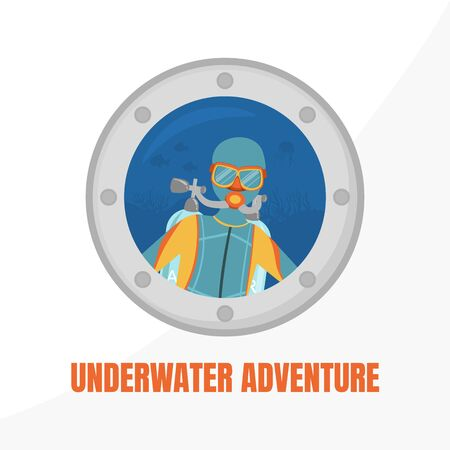 Underwater Adventure Banner Template, Water Active Sport, Summer Vacation Vector Illustration Illustration